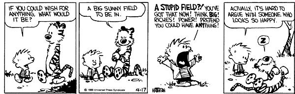 calvin arguing about success.